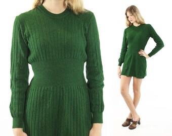 Vintage 70s Sweater Dress Long Sleeve Dark Green Knit Mini Dress 1970s Hippie Boho Fashion Small S