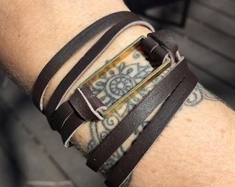 Double Wrap Leather Bracelet or Choker - Brass Rectangle