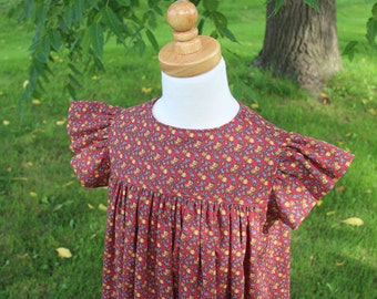 Girl's Prairie Sundress Red Calico Size 5 -Ready to Ship