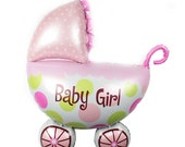 Stroller Balloon - Baby Girl Balloon - Foil Star Balloon - 35 x 26 cms - Baby Shower - Helium Balloon - Ready to Ship
