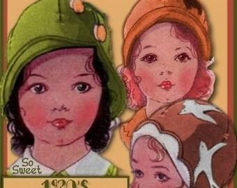 SALE PDF Sweetest Toddlers 1920s FELT Cloche Hat e-pattern - 3 Styles Pdf download