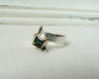 Sterling silver, 14k Yellow Gold and Green Tourmaline Ring - SIZE 6 - READY to SHIP