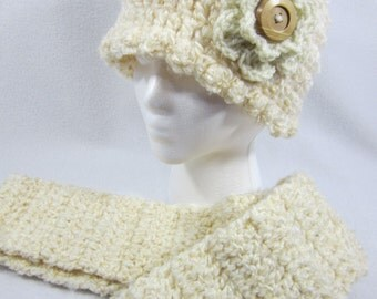 Eggshell Scarf and Hat Crochet, Crocheted Thick Cream Fluffy Cap and Infinity Scarf Set Flowered Hat and Cowl ~Gift for Mom Under 40 Dollars