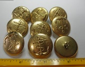 9 Yellow Metal Buttons Anchor Motif - 1-3/16 inch dia. - Steampunk - Military - new old stock