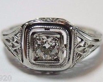 Antique Diamond White Gold Engagement Ring | RE: 833