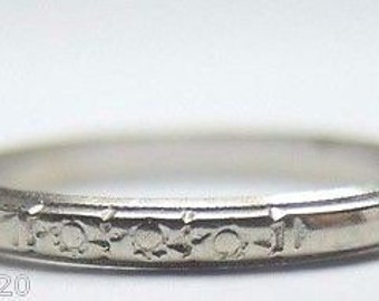 Antique Art Deco White Gold Women's Wedding Band