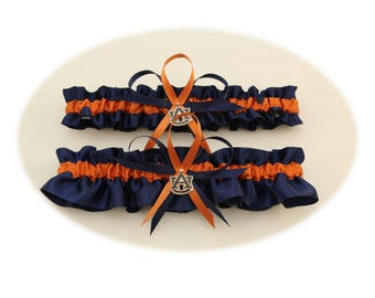 Wedding Garter Set with Auburn University Colors