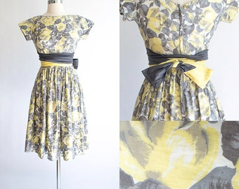 Vintage 50s Dress | 1950s Cotton Dress | Yellow Rose Floral Cotton Party Dress Extra Extra Small