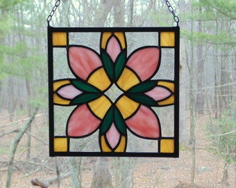 Stained glass quilt block, quilt suncatcher panel, pink amber green, flower suncatcher, quilter studio decor, handmade window art
