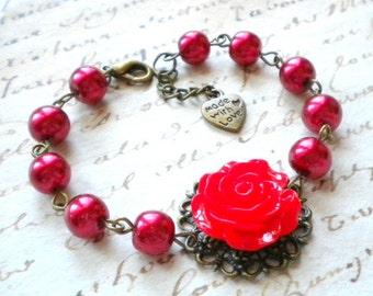Rose Bracelet Flower Bracelet Red Pearl Bracelet Red Bracelet Red Wedding Jewelry Romantic Jewelry Red Bridesmaid Bracelet Red Rose Bracelet