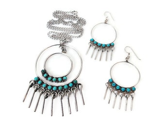 Sterling Turquoise Petite Point Necklace Earrings Set - Native American, Snake Eyes, Vintage Necklace, Vintage Earrings, Vintage Jewelry