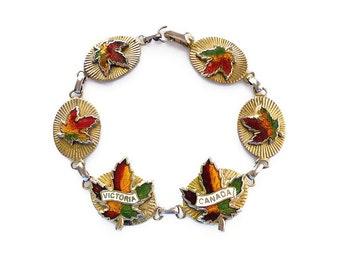 Victoria Canada Enamel Gold Tone Souvenir Bracelet - Canadian Maple Leaves, Tourist Jewelry, Vintage Bracelet, Vintage Jewelry