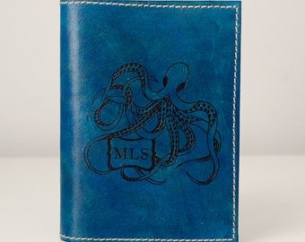 Small Leather Journal - Octopus Monogram