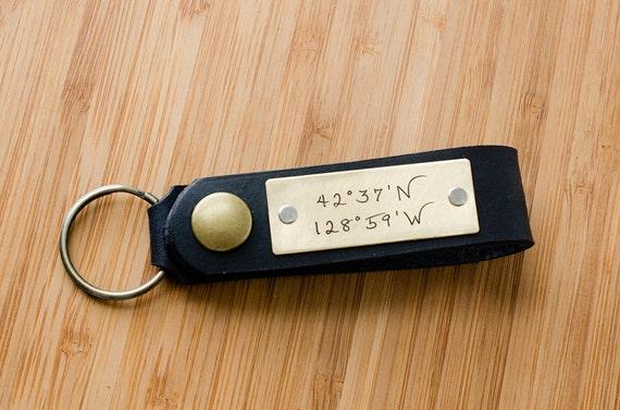 Latitude and Longitude Custom Personalized Leather Key Chain Accessory, Anniversary Gift, Custom Keychain, Wedding Gift,