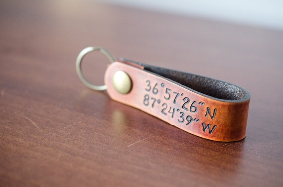 Latitude and Longitude Custom Personalized Leather Key Chain Accessory, Anniversary Gift, Custom Keychain, Wedding Gift,