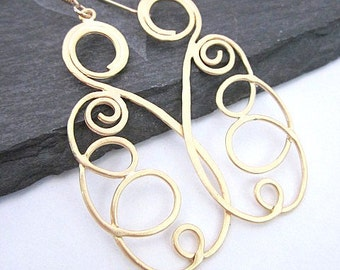 Gold Spiral Earrings -- Curled Earrings -- Spiral Dangle Earrings -- Thin Gold Earrings -- Unique Spiral Earrings -- Gold Spiral Jewelry