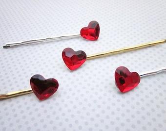 Heart Hair Pin -- Red Crystal Hair Pin -- Swarovski Hair Pins -- Red Bobby Pin -- Red Hair Pin -- Heart Hair Accessory -- Red Heart Hair Pin