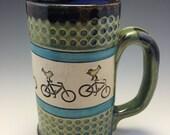 Birds, Bike, Birds on Bike, Put a Bird On it Mug, Stoneware Bike Mug, Bird Bike Coffee Mug, Bird Tea Mug, Bike Beer, Bird Clay Mug