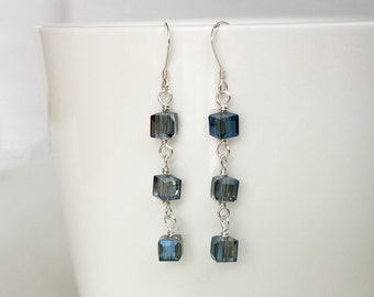 Dangle earrings blue beads earrings long earrings minimalist silver earrings women