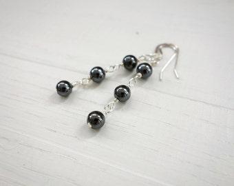 Stone earrings minimalist earrings grey hematite earrings silver
