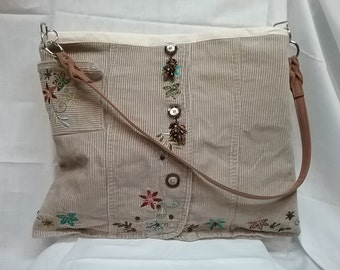 Corduroy Tan Bag Purse Tote Tablet Design and One of a Kind