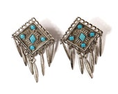 Navajo FRINGE Earrings - Silver and Turquoise - Southwestern Native American Influenced Jewelry - Big TRIBAL Clip On Earrings - Vintage 70s