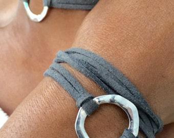 Boho Wrap Bracelet, Wrap Around, Affirmation Bracelet, Circle Charm, Gift for Her, Faux Suede, Leather, Triple Wrap Bracelet, Bangle