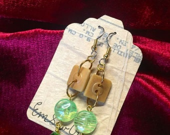 Green Earth Button Earrings One of A Kind