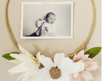 Simple paper flower wreath frame nursery decor
