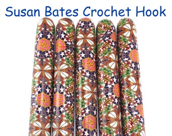 Crochet Hook, Polymer Clay Covered Susan Bates Crochet Hook, Made to Order, Fireworks