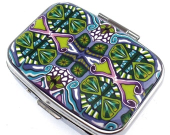 Blue, Green, Purple 2 Compartment Polymer Clay Covered Pill Box, Pill Case