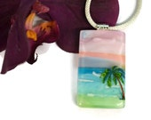 Scenic Beach Pendant, Palm Tree, Fused Glass, Ocean, One of a Kind, Dichroic Pendant