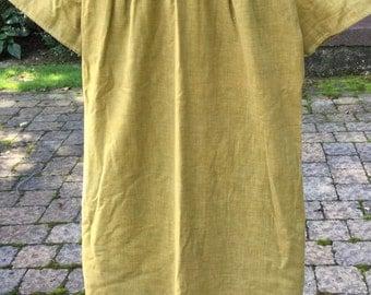 Jeune Leigue Fifties Dress by Cherbourg XS Demure Mad Men Dress Umpire Style Short Sleeves Peter Pan Collar Gold Green