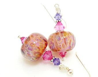 Pink Earrings, Boro Glass Earrings, Lampwork Earrings, Glass Bead Earrings, Glass Earrings, Glass Bead Jewelry, Pink Purple Earrings