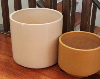Reduced: Vintage Gainey Architectural Planter, Cylinder Pot (Left), Glossy Beige, Modernist, Mid Century Modern