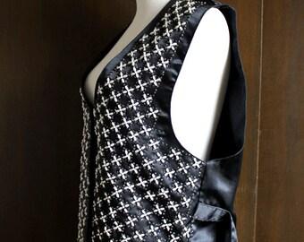 SALE 90s vintage pearl vest / black satin, beads, back tie, glam top, embellished