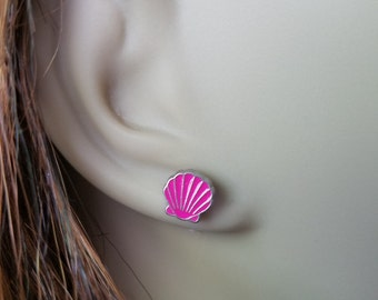 Tiny Pink Shell Earrings