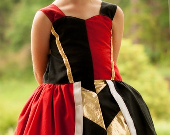 Disney Classic Queen of hearts Alice in Wonderland custom order Poppy Dress Sizes 6m, 12m, 2t, 3t, 4t, 5, 6, 8, 10