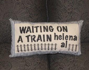 Helena Al, Handmade Decorative Throw Pillow, Waiting on a Train,  C125
