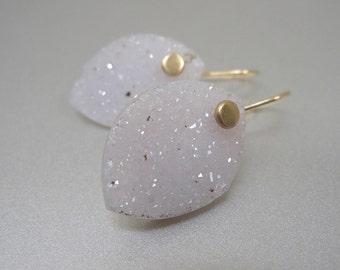 Lavender Agate Drusy Drop Solid 14k Gold Earrings