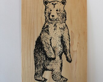 Bear - Screen print on wood veneer // Ours - Sérigraphie sur placage de bois