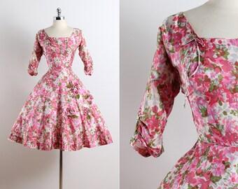 Strewn Path . vintage 1950s dress . vintage silk dress . 5650