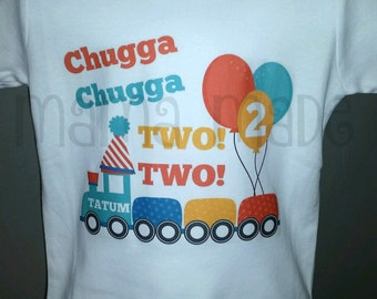 Boy's Birthday Shirt, Boys 2nd Birthday Shirt, Chugga Chugga Two Two Shirt, Train Birthday Shirt, Boy's Train Birthday Shirt, 2nd Birthday