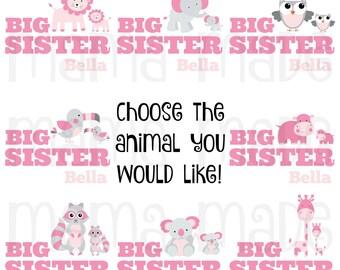 Big Sister Shirt, Big Sister Bird Shirt, Big Sis Shirt, BigSister elephant shirt, Big Sister Hippo Shirt, Big Sister Tee Big Sister Animal