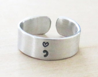 Semicolon heart ring inspirational motivational jewelry recovery gift suicide awareness - Self love ring