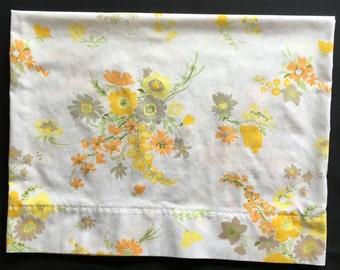 Vintage Pillowcase - Yellow Orange and Grey Floral Design - Sears