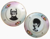 Frankenstein and Bride - Altered Vintage Plate Set 5.5""
