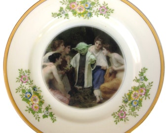 """SALE - Yoda and the Nymphs Portrait Plate  - Altered Vintage Plate 6.5"""""""