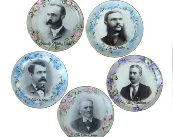 The Mustache Series - Altered Antique Plate Set 6.25""