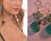 Gemstone Cluster Earrings,gemstone earrings, silver earrings,cluster earrings,drop earrings,dangle earrings,amazonite earrings,amazonite